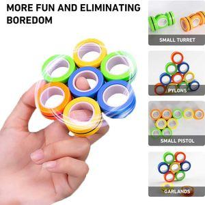 3pcs pack Magic Magnetic Rings Hand Toys Decompression Toys Magnetic Rings Relief Novelty Magnetic Blocks Fidget Toys on Sale DHL Shipping