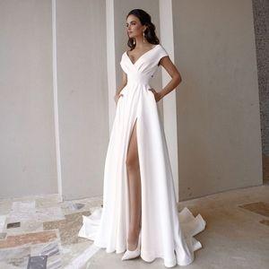 Modest V-Neck Wedding Dress 2020 Fashion Short Sleeve Sweep Train Slit A Line Bridal Gown with Pockets Q1110