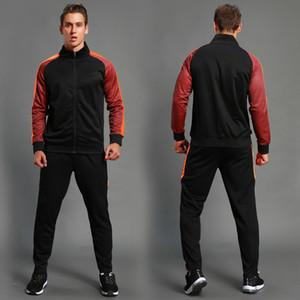 2pcs Set Men's Soccer Sportswear Tracksuit Jacket Football Training Suit Autumn Winter Spring Long Sleeve Zipper Top and Pants