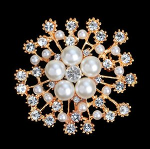 Charming Rhinestone Imitation Pearl Flower Brooches Bridal Scarf Sweater Broches Coat Dress Pin Wedding Jewelry