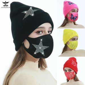 2021 New European and American creative pure color curled knitted hat, butterfly stickers, hot drilling, ice silk mask, warm knitted hat
