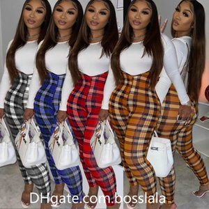 Donne Tracksuits Slim Sexy T-shirt solida T-shirt colorata Plaid Plaid Stampa Tuta Ladies Due pezzi Outfits New Fashion Designers Vestiti 2020