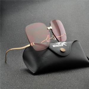women Square sunglass designer glasses men 2020 high quality Four corners frameless sunglasses Gradient lens FML