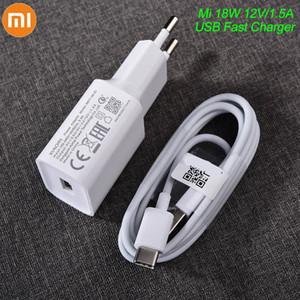 Оригинальные Xiaomi USB Зарядное устройство 08-EI 18W Адаптер ЕС USB 3.0 5V 9V 12V Тип C Кабель данных C для MI 5 6 8 9 Redmi Note 7 8 Pro F1 A2 A3 Lite
