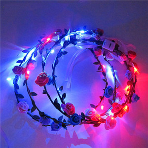 New Design LED Flashing Rose Flower Festival Headband Veil Party Halloween Christmas Wedding Light-Up Floral Garland Hairband DHC3954
