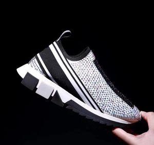 Sorrento Slip-on İtalya Bayan Çizmeler Lüks Elmas Sneakers Streç Örgü Çorap Eğitmenler İki Tonlu Kauçuk Mikro Sole Kristal Erkek Rahat Ayakkabılar