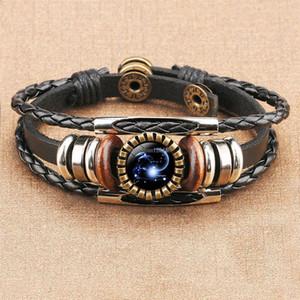 Glass Cabochon 12 Zodiac Horoscope Bracelet Multilayer Wrap Bracelet Wristband cuff for women Fashion Jewelry Gift Will and Sandy gift