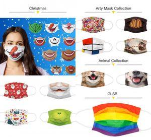2021 مصمم مخصص قابل للغسل قناع الوجه المتاح أزياء الكبار مخصصة مخصصة الأذن تنفس الكرتون الأعلام الوجه أقنعة الفردية حزمة