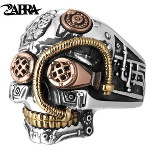 ZABRA Solid 925 Sterling Silver Skull Ring Men Big Heavy Vintage Punk Biker Rings Silver Man Gothic Jewelry For Male