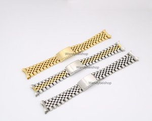 19mm 20mm New 316L Stainless Steel Gold Two tone Watch Band Strap Old Style Jubilee Bracelet Curved End Deployment Clasp Buckle