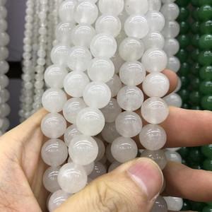 1Strand Lot 4 6 8 10 12 mm Cardneliana bianca Agate AGATURE ROUND Gem Branelli Cardneliana Perline sciolta per gioielli Making fai da te collana h wmtvgm