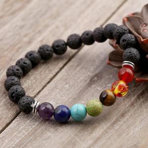 Fashion Men Women Bracelet Natural Lava Stone Colorful Beaded 7 Chakra Charm Bracelets Jewelry Accessories 8 @17 LXH