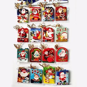 Tree Hanging Ornaments 12pcs lot Santa Claus Mini Greeting Cards Message Christmas Holiday Blessing Card FZ312