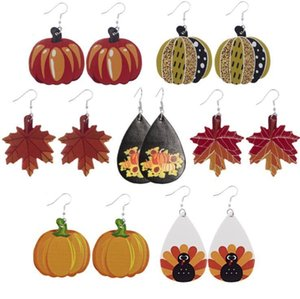 Halloween Leather Thanksgiving Day Shape Jewelry Pumpkins Water Drop Earrings Maple Leaf Gift Party Favor DHC3035