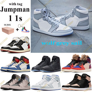 2021 Jumpman 1 1s Basketball Shoes wolf grey sail Men Women Sneaker with Box tag union Los Angeles Black Blue Toe Trainers Keychain