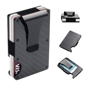 Carteras de fibra de carbono RFID para hombres - Minimalista Aluminio Metal Money Clip Wallet Mens Cartera Titular de la tarjeta de crédito