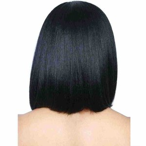 Woman hair synthetic hair short straight hair Natural black Straight Short BOBO Wigs Heat Resistant Fashion Wig for Women