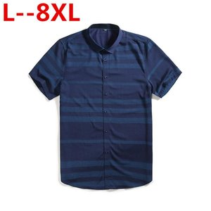 Plus size 8XL 7XL 4XL Men's Short Sleeve Blue Oxford Dress Shirt Cotton Male Casual Striped Button Down Shirts 5XL 6XL Big size