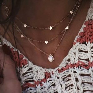 Vintage Multilayer Star Heart Choker Necklace Bohemian Water Drop Pendant Crystal Necklace Collares de moda 2020 bijoux femme