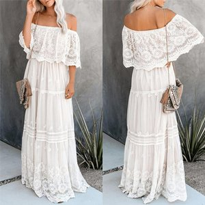 Women Bohemian Lace Dress 2020 Fashion Sexy Off Shoulder Summer Dress Ladies Beach Casual Long Maxi Dresses Evening Party Robe