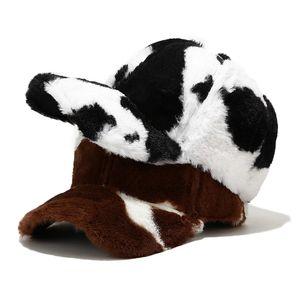 Winter Fashion Cow Print Snapback Baseball Cap Faux Fur Plush Women Cap Hip Hop Hats For Ladies Black White Baseball Cap