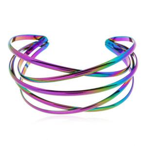 Hot sale personalized rainbow color metal open bracelet, ladies fashion temperament, Bohemian ethnic style multi-level bracelet