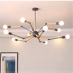 Modern 6 8  12 arms Wood chandelier white black spider chandelier lighting for living room dining room Suspension luminaire