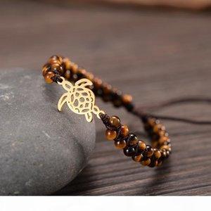 Sea Turtle Steel Charm Bracelets Handmade 4mm Stones Double Layers Braided Holiday Jewelry