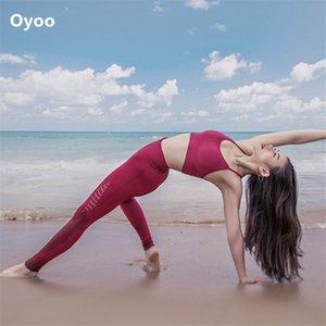 Oyoo Seamless Yoga Set Fitness Roupas Workout Outfit Gym Leggings Conjunto de Mulheres Vermelho Acolchoado Esportes Bra Top 2 Pcs Esportes Terno Mulheres 201113