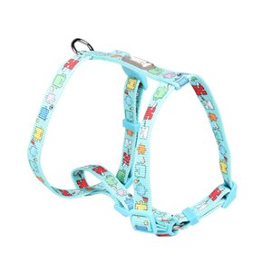 Nylon Dog H-Shaped Harness Print Adjustable Breathable Personalized Pet D-ring Soft Comfortable Vest Harnesses Q1119