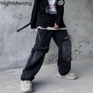Patchwork Vintage Ripped Hole Jeans Punk Straight Black Denim Pant Japanese Men Streetwear Fashion Hip Hop Woman Korean Casual