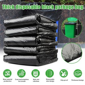 50pcs Trash Bags Black Heavy Duty Liners Strong Thick Rubbish Bags Bin Liners Disposable Garbage Bag Large Capacity Durable 201218