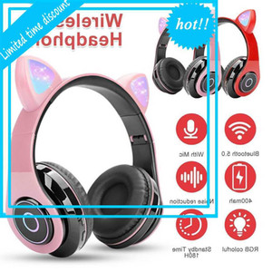 Flash Light Nice Cat Ear Wireless Headphone Space Printing Bluetooth 5.0 Children Headset مع ميكروفون للهاتف