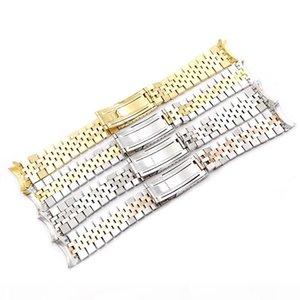 Carlywet 19 20 22mm Deux Ton Ton creuse End Fin Courbe Vis Solide Links De Remplacement Sangle De Montre De Remplacement De Style Jubilé Bracelet T190620