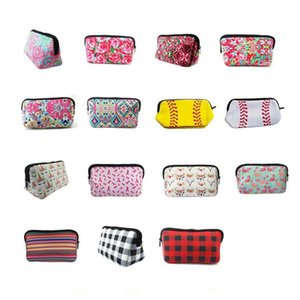 Neoprene Makeup Bag Lilly Floral Travel Case Rose Neoprene Accessories Cosmetic Bag 15 Style OWC4021