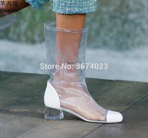 Qianruiti женщин Beatwork Crystal Crystal Face Boots Boots Square Toe прозрачная обувь скользят на PVC ботинки летний дождь Mujer