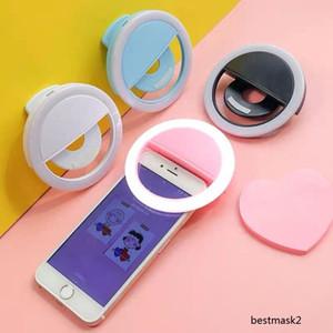 무료 배송! 휴대용 충전식 USB 카메라 클립 사진 비디오 휴대 전화 LED 반지 셀카 빛 공장 직접 판매