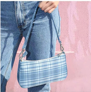 Small Plaid Baguette Bag Women Fashion PU Leather Totes Clutch Shoulder Bag Ladies Small Fashion Hobos Bag Clutch Handbags