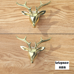 European Upscale luxury Creative solid yellow Brass Deer head furniture decoration handle Copper Drawer Cupboard TV Cabinet Knob