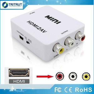 Adattatore video HDMI2AV 1080P HD Mini HD a AV Converter CVBS + L / R HD per RCA per Xbox 360 PS3 PC360 con confezione al dettaglio MQ50