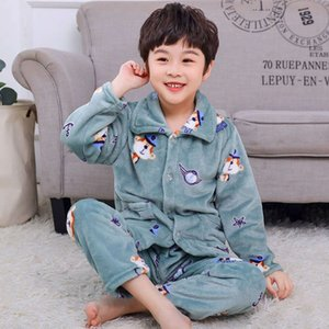 flannel pajamas in autumn and winter Children's