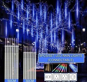 30cm  50cm Waterproof Meteor Shower Rain 8 Tube Led String Lights For Outdoor Holiday Christmas Decoration Tree Eu us au uk Plug bbyfmt