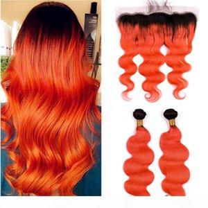 Ombre Orange Body Wave Malaysian Hair 2 со с лобовым закрытием 3шт Лот # 1b Оранжевый Оммре Волнистые волосы Weaves с кружевом Frontal 13x4
