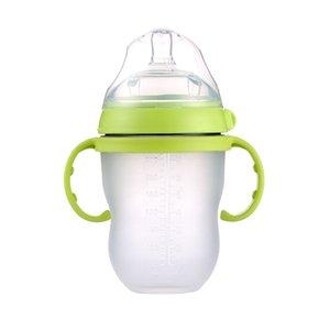 Mamadeira Babyflasche grün 250ml (8oz) rosa 150ml (5oz) Milch füttern mit Griffkinder q1121