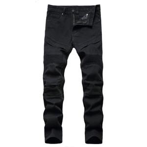 2021 New Arrival Men'S Moto Biker Jeans Black White Straight Denim Pants Spring Autumn Winter HIP HOP Hombre pantalon homme