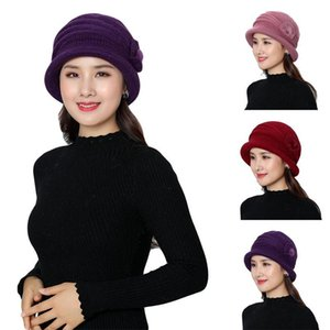 Women Knitted Hats Fur Plush Mother Caps Skullies Beanies Hats Winter Warm For Female Flower Decoration