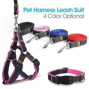 Denim genäht Haustierhunde Harness Leine Kragenanzug Safe Universal Sicherheitsgurt Weste Einstellbare Persönlichkeit für kleine mittelgroße Hunde1