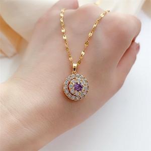 18K Gold Necklace White Diamond Pendants for Women Bijoux Femme Collares Joyas Natural Pierscionki Bizuteria Gemstone Pendant Q1121