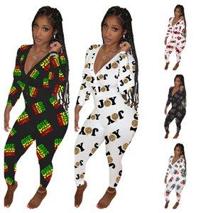 2021 Womens manga comprida jumpsuit designers calças macacos dia dos namorados mãe dia baixo v neck bodysuit moda impressa global vestuário g12107