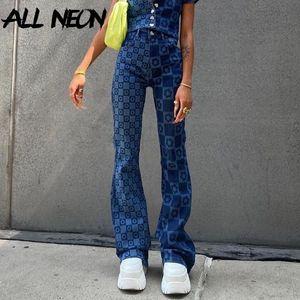 Allneon Vintage Checkered Цветочная высокая талия Flare Jeans E-Girl 90S Мода Печать Джинсовые брюки Y2K Шикарные Ретро Брюки Муджер